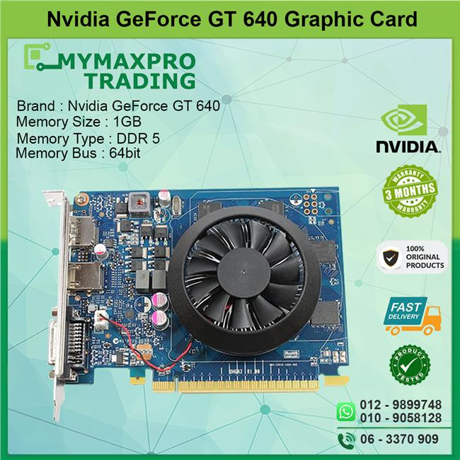 NVIDIA GeForce GT 640 1GB DDR5 64bit DVI HDMI DisplayPort Graphic Card