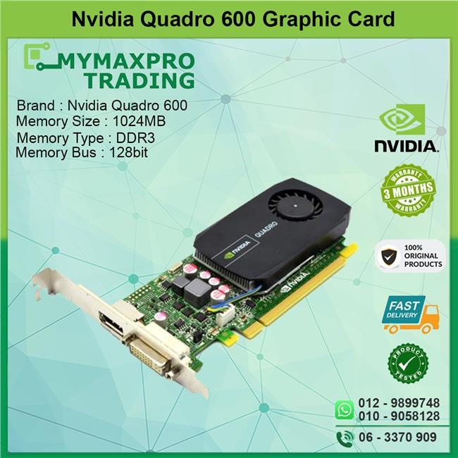NVIDIA Quadro 600 1GB DDR3 128bit DVI Display Port PCI-E Graphic Card