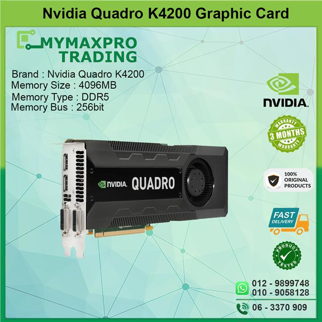 NVIDIA Quadro K4200 4TB DDR5 256bits DVI DP Graphic Card
