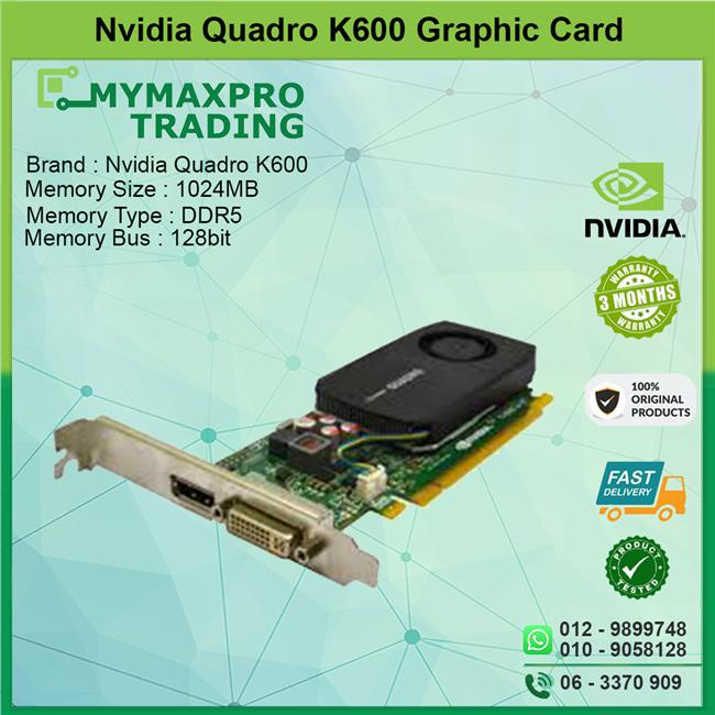 NVIDIA Quadro K600 1GB DDR3 128bit DVI Display Port PCI-E Graphic Card