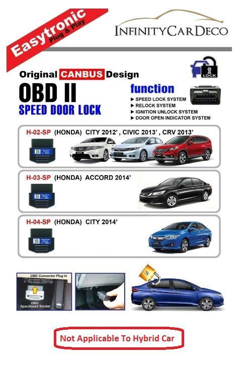 OBD Speed Door Lock for Honda City 08-13, Jazz 08-13