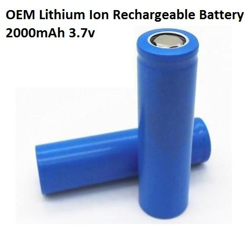 OEM 18650 Lithium Ion Rechargeable Battery, 2000mAh 3.7v, 1pc