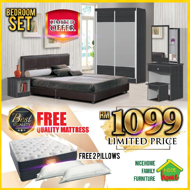 offer bedroom set with mattress free 2x pillow