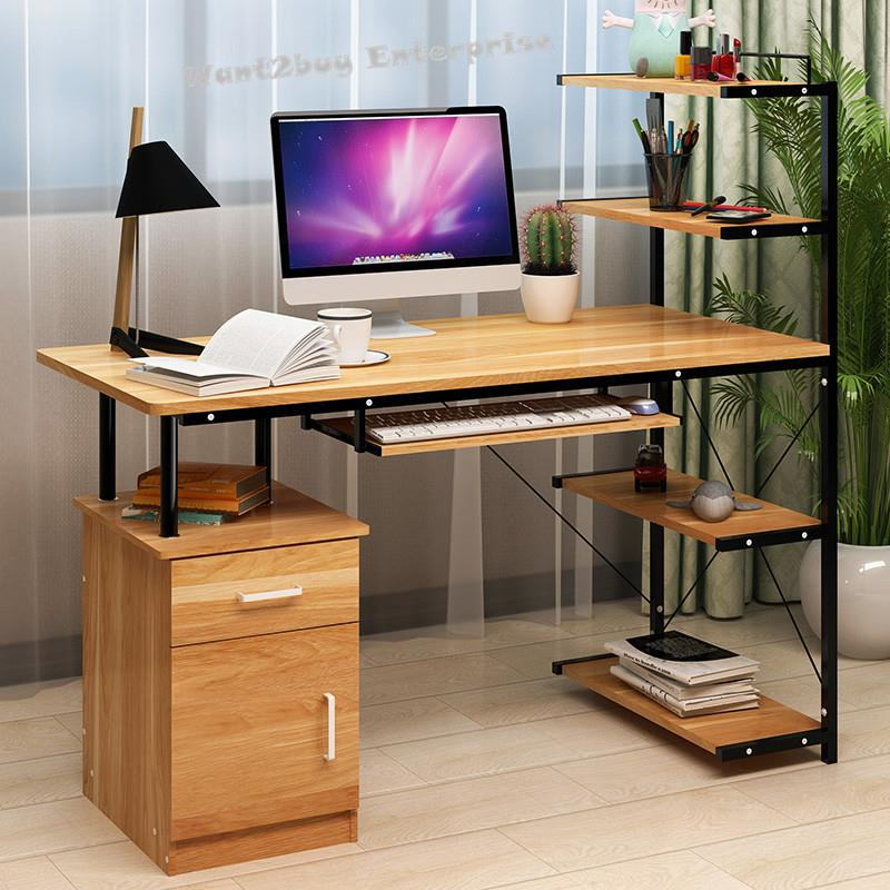 Office Computer Laptop Wooden Desk Study Table With Book Shelf Drawer