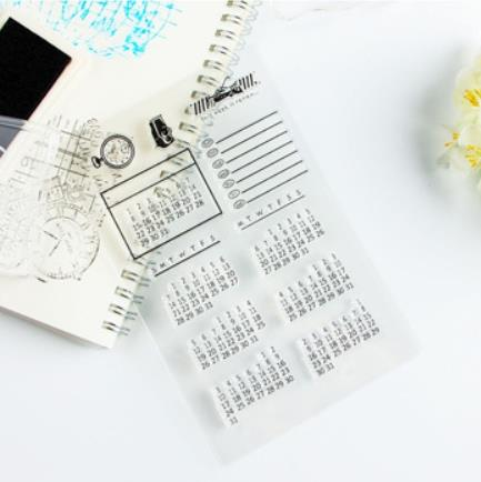 Office ICON Label Silicone Stamp Seal Sheet Time Calendar