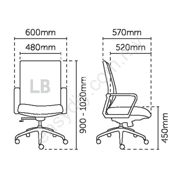 Office Mesh Chair | Line Mesh Low Back Chair - E 2736H