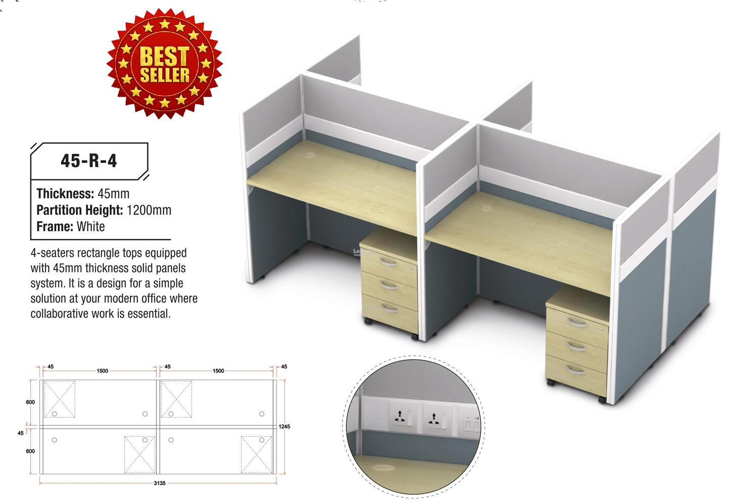 Office Partition & Desking System 45-R-4
