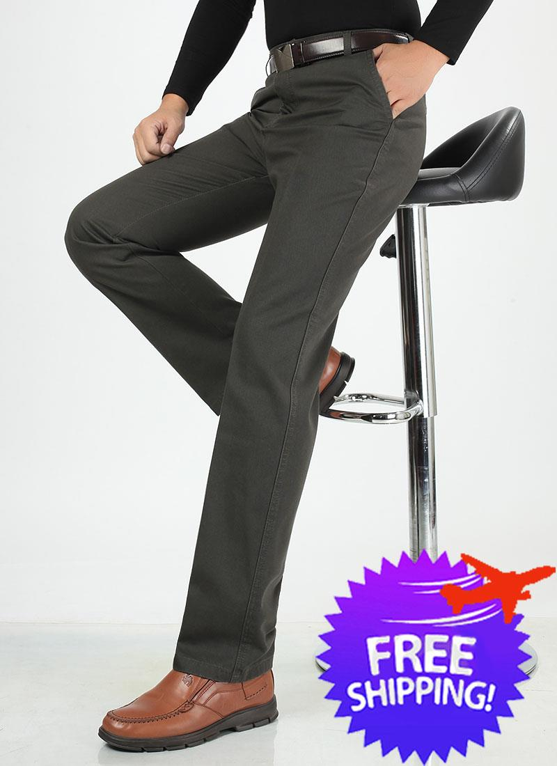 Office Wear Men Smart and Casual Straight Cut Long Trouser Pants