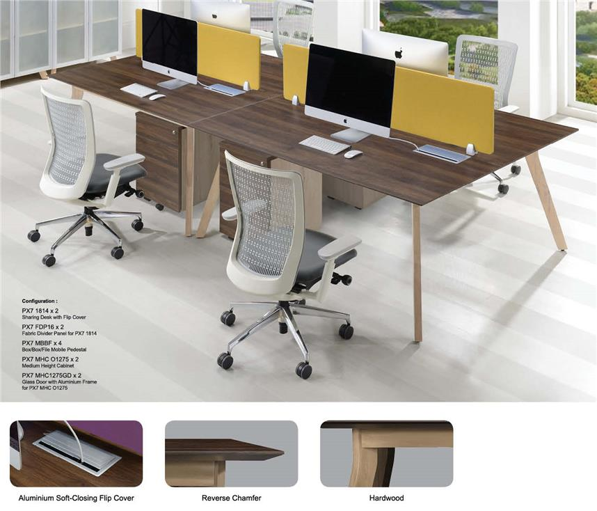 Office Workstation Table for 4 pax with solid wood legs