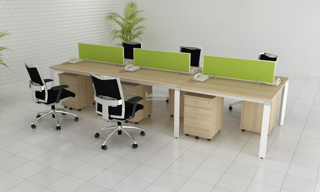 Office Workstation Table Desk for 6 Pax with Pyramid Profile Legs