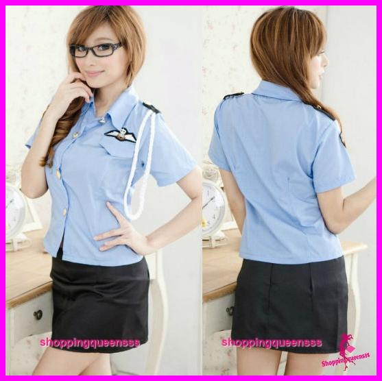 Officer Uniform Cosplay Costume Sleepwear Sexy Lingerie -