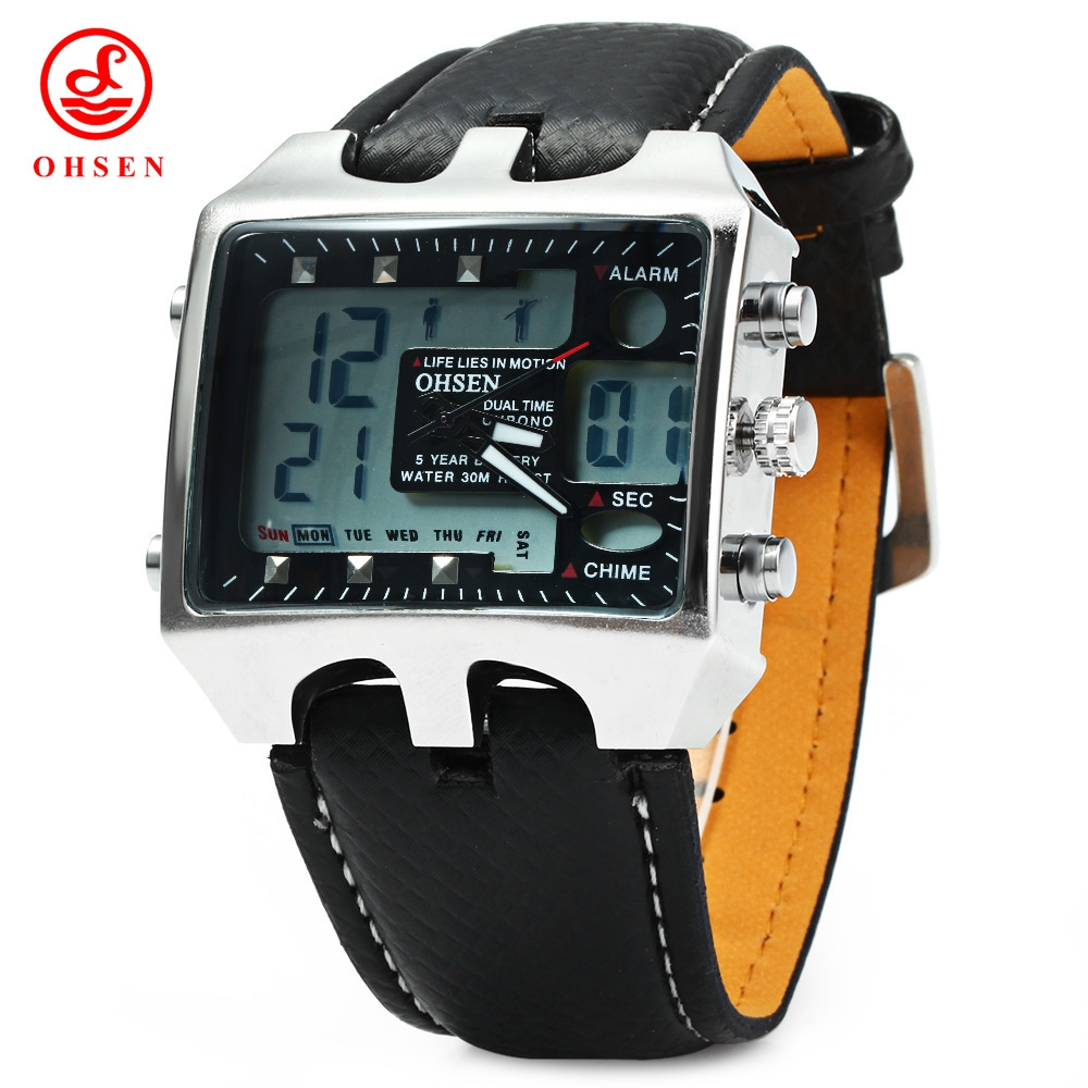0e68db225bc OHSEN AD0930 MALE DUAL TIME LED SPORTS DIGITAL WATCH WITH DATE WEEK. ‹ ›
