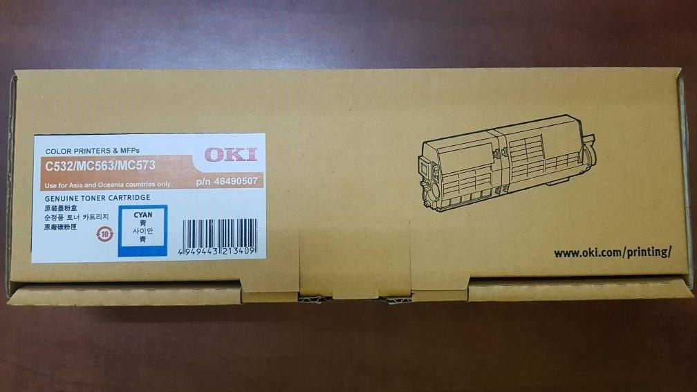 OKI Cartridge C532 MC563 MC573 (Cyan) Genuine p/n 46490507 532 563