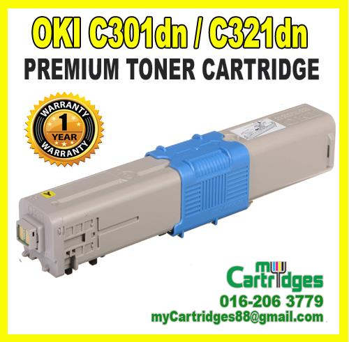 Okidata C301dn C321dn Yellow Premium Compatible Toner Cartridge