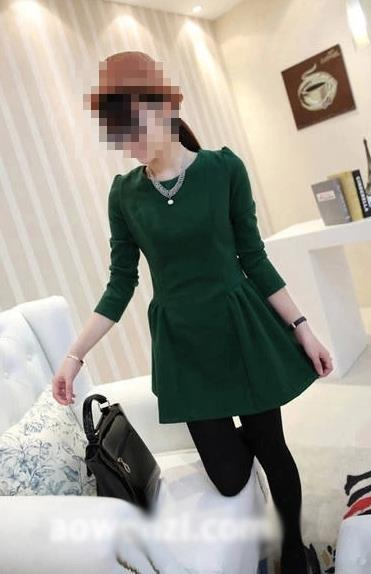 OL Style Show-slim Long-sleeve Dress (Green)