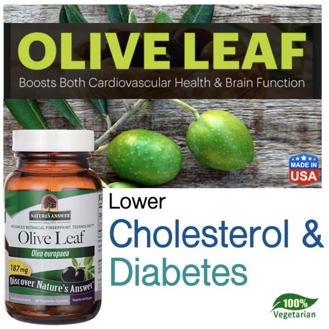 Olive Leaf 187mg, 60 Vegetarian Caps (Cholesterol, Diabetes, Cancer)