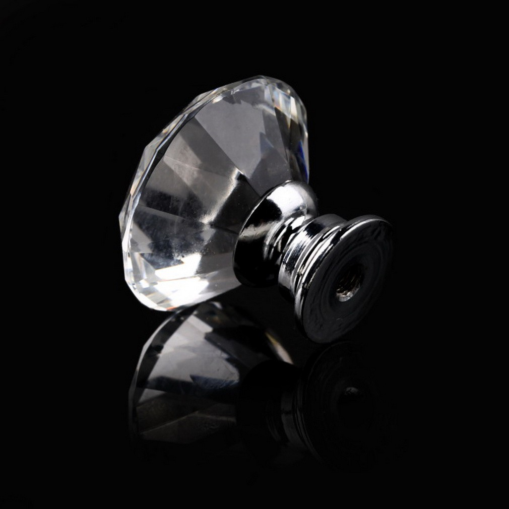 Omb10 PIECE(s) 30mm Diamond Crystal Glass Knob Cupboard Drawer Pull Ha
