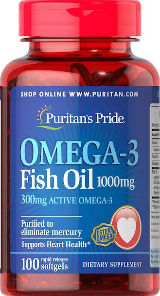 Omega-3 Fish Oil 1000 mg (300 mg Active Omega-3) Made in USA
