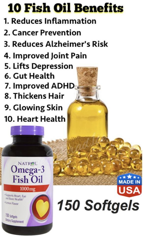 Omega-3 Fish Oil 1000mg (150 softgels) Made in USA
