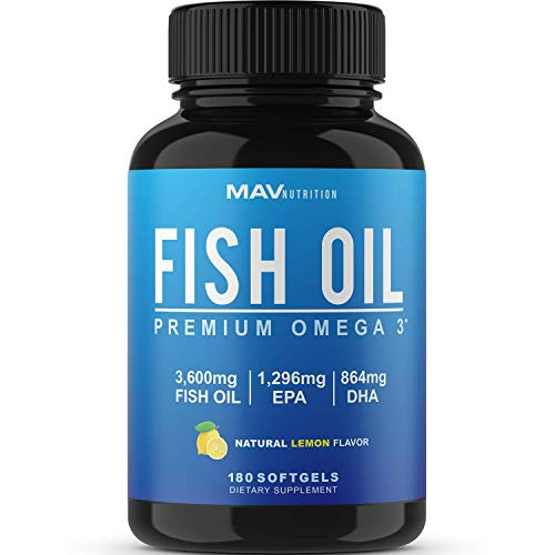 Omega 3 Fish Oil 3,600 mg - Designed to Support Heart, Brain, Joints  & Skin;