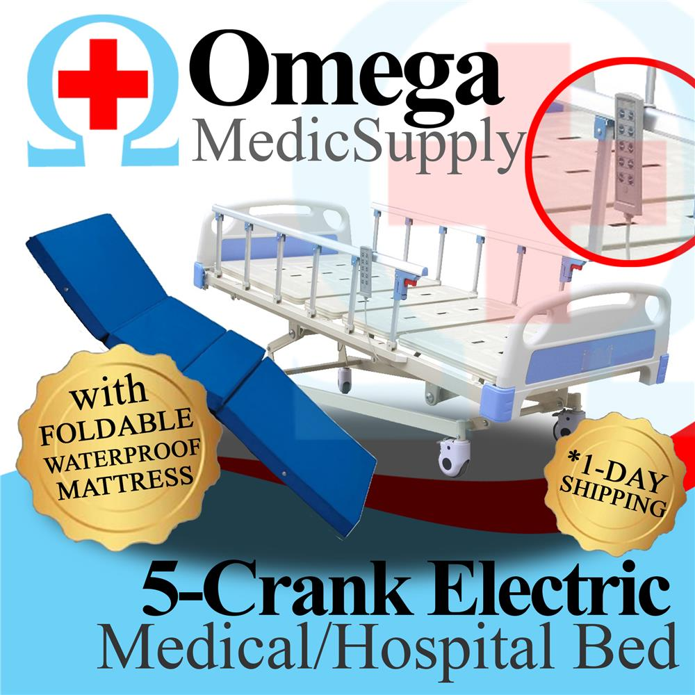Omega - 5 Function Electric Hospital Nursing Bed With Foldable Mattres