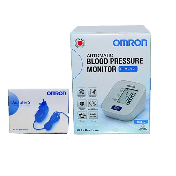 Omron Automatic Blood Pressure Monitor HEM-7120 + Adapter