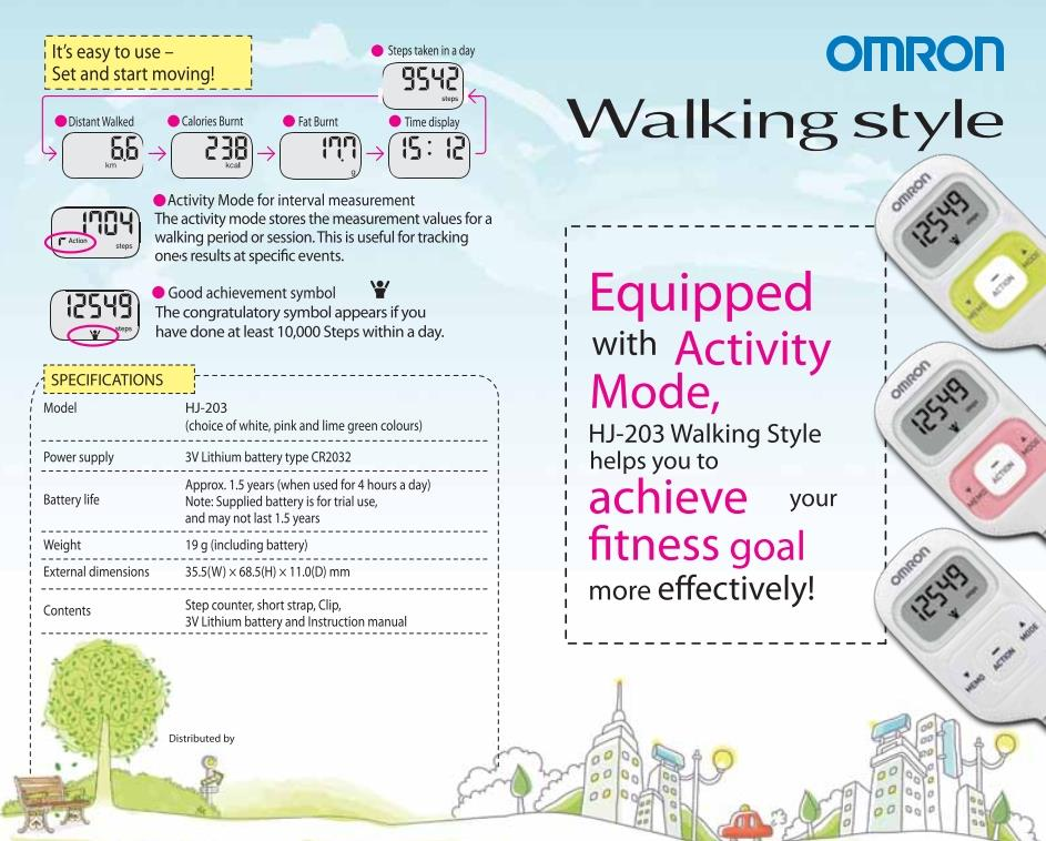 Omron HJ-203 Pedometer With Activity Tracker WHITE
