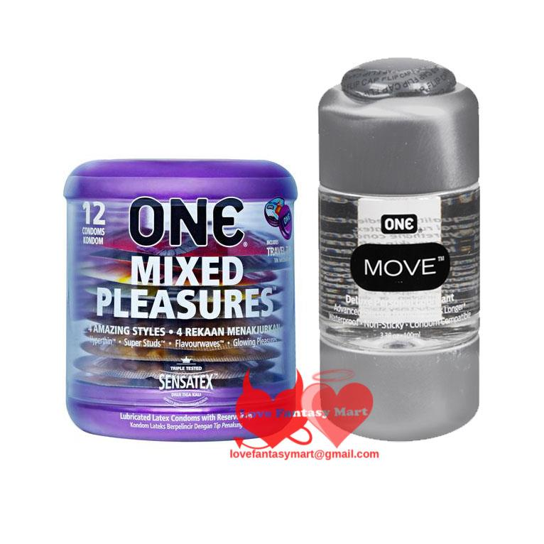 One Mixed Pleasures Condoms 12s Made in USA + Silicone Lubricant