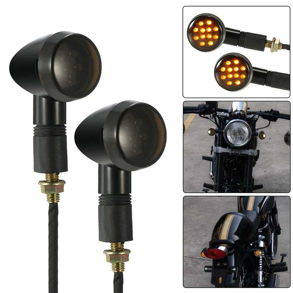 One Pair of Motorcycle LED Turn Signal Light Universal for Harley Cafe Racer C