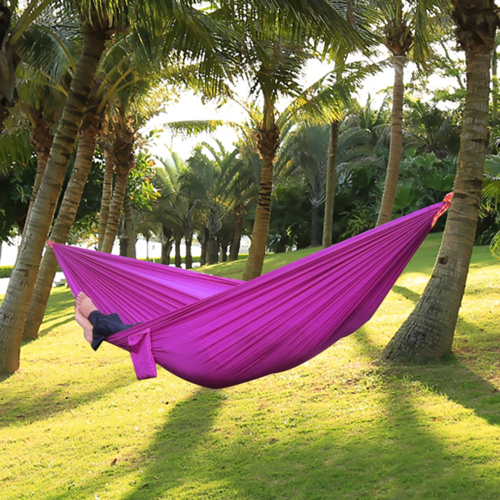 ONE PERSON PARACHUTE NYLON FABRIC HAMMOCK WITH STRONG ROPE (PUR - ONE PERSON PARACHUTE NYLON FABRIC H (end 11/22/2019 8:35 PM)