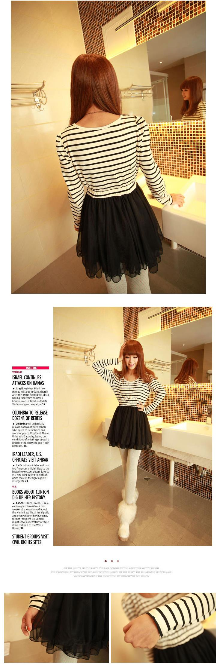 One Piece Dress Black Stripe