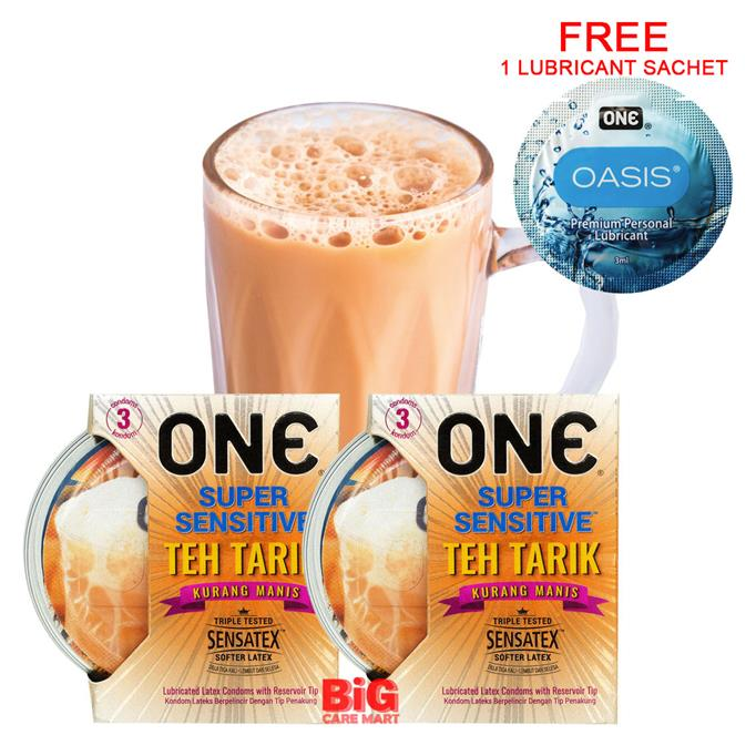 ONE Super Sensitive Teh Tarik Condoms 3pc X 2 set + FREE 1 Lube Sachet