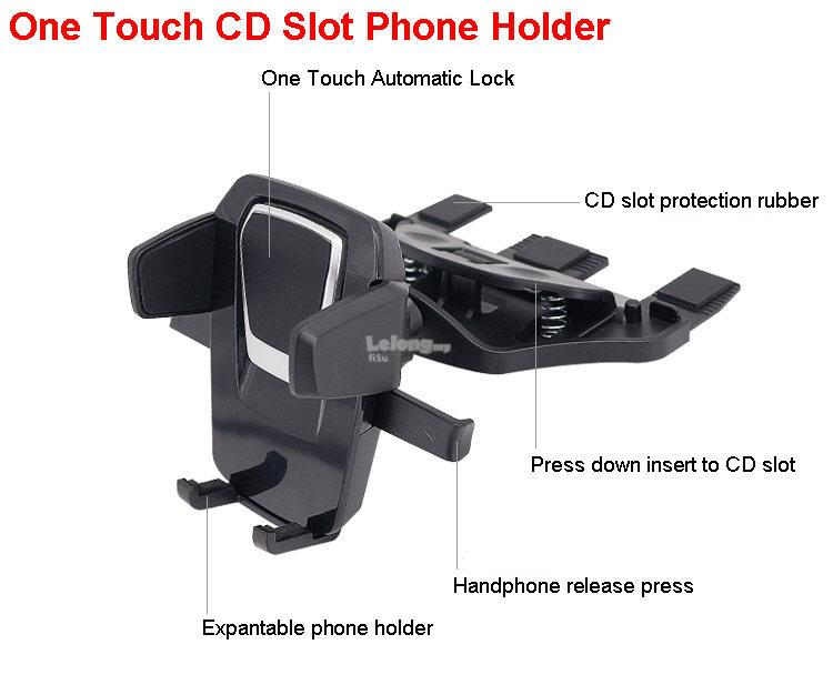 One Touch CD Slot Car Mount Phone Holder