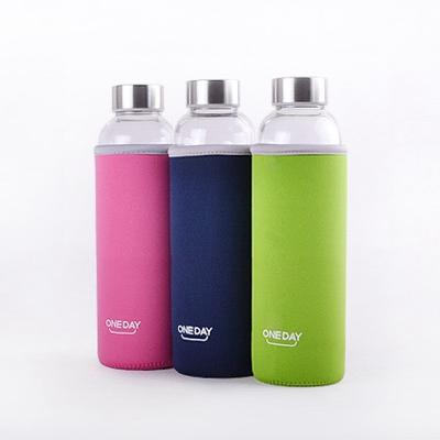 OneDay Glass Water Bottle With Bottle Holder Pink 360ml