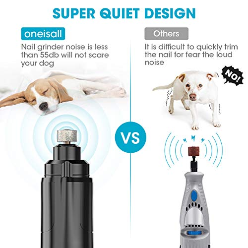 oneisall Dog Nail Grinder Clippers Upgraded 2 Speed Pet Nail Trimmer for Dogs