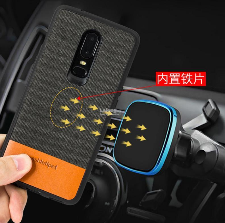 wholesale dealer 6f416 a2674 OnePlus 5 5T 6 1+6 1+5T Canvas Leather Magnetic Back Case Cover Casing