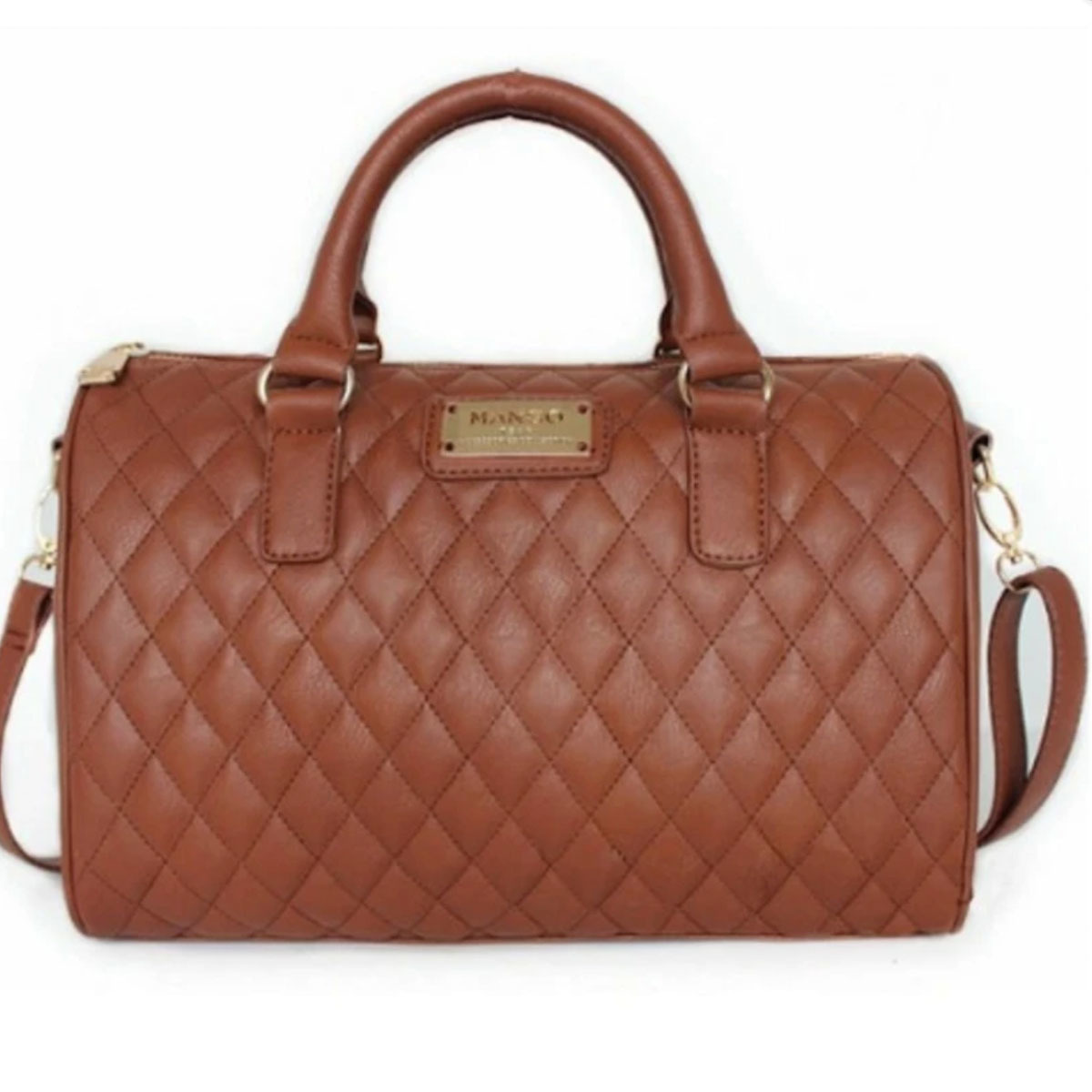 OOTD28 MANGO Quilted Bowling Bag Top Quality Premium Tote Handbags. ‹ ›