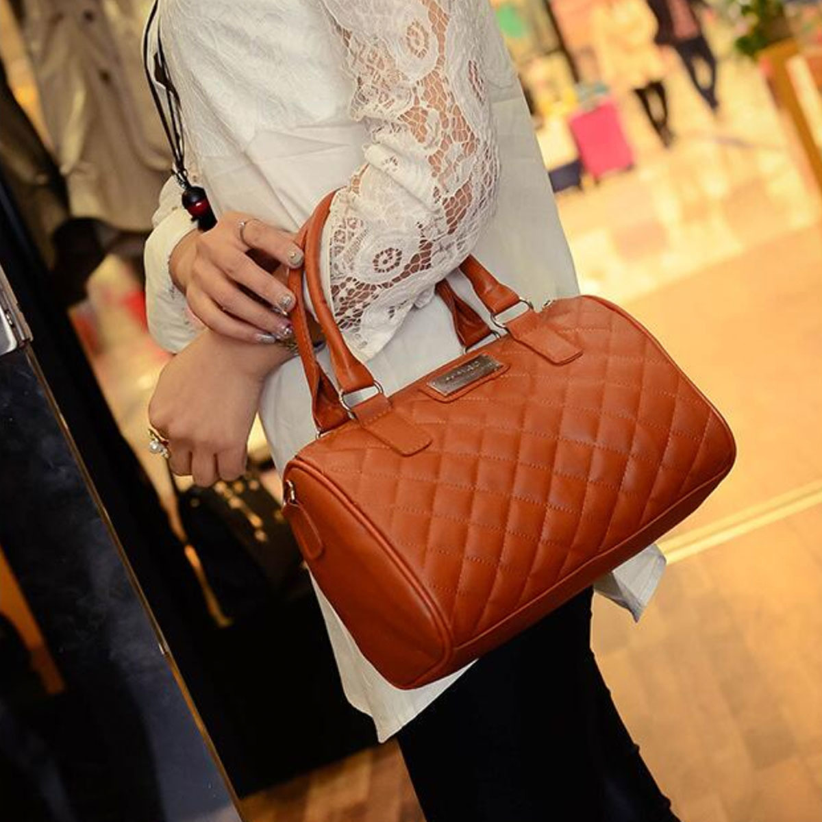 OOTD28 MANGO Quilted Bowling Bag Top Quality Premium Tote Handbags