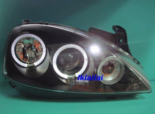 OPEL CORSA C '99 Crystal Projector LED Ring Head Lamp [Black/Chrome Ho