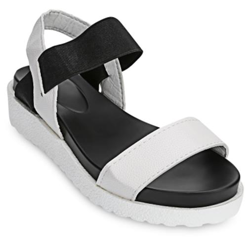 e16d945a77a OPEN TOE ELASTIC BAND PATCHWORK PLATFORM SANDALS FOR LADIES (WHITE)