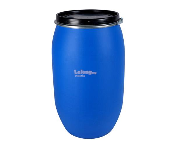 Open Top Plastic Blue Drum - 220Liter