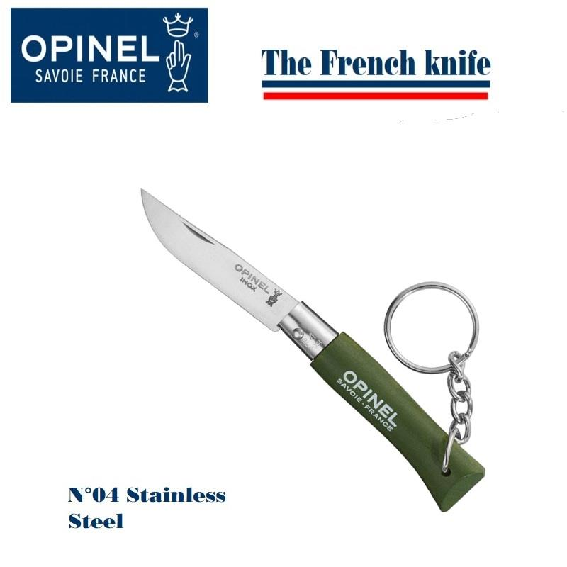 "Opinel N04 Folding Knife with Keyring 2"" Sandvik Plain Blade Green"