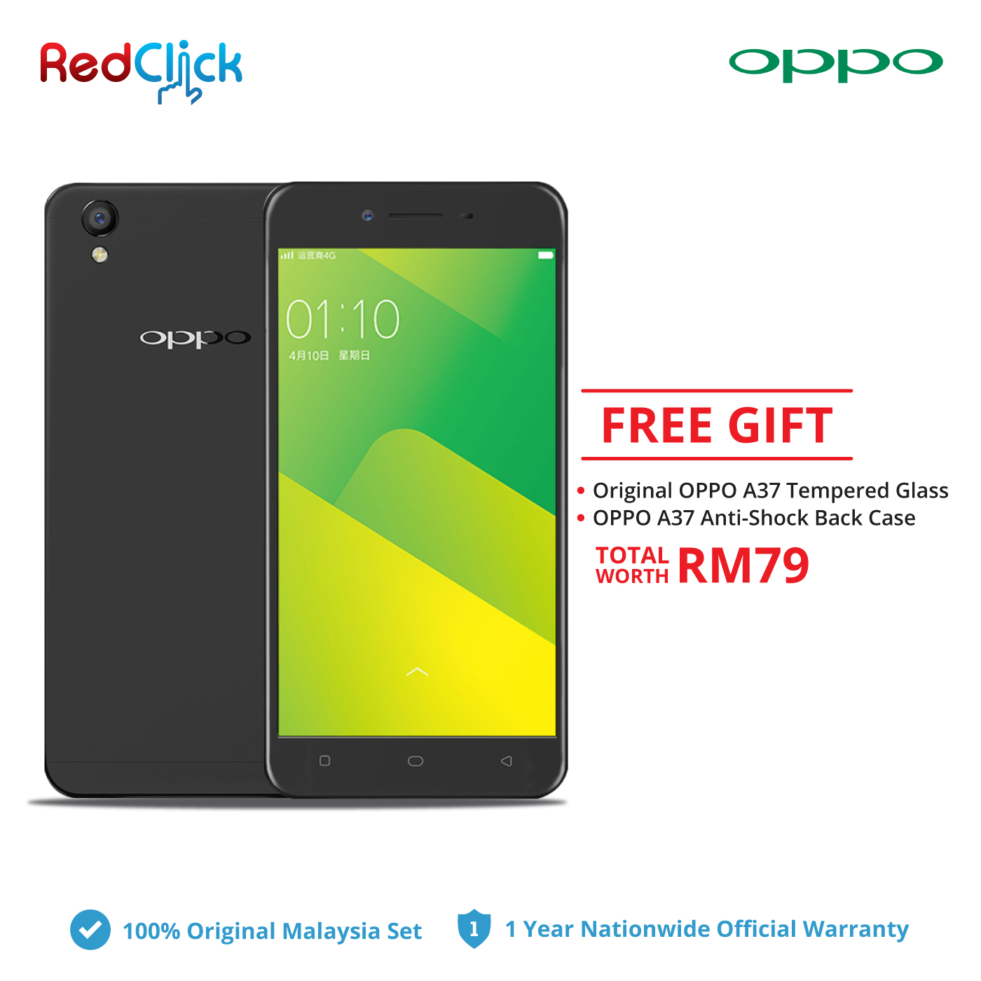 OPPO A37 (2GB/16GB) + 2 Free Gift Worth RM79