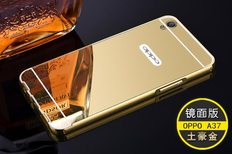 OPPO A37 A37M Mirror Metal Frame Bumper Case Cover Casing + Gift