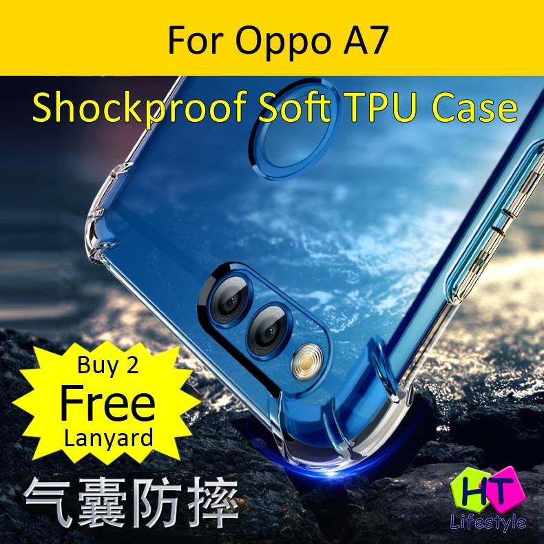 Oppo A7 Shockproof Transparent Soft TPU Case
