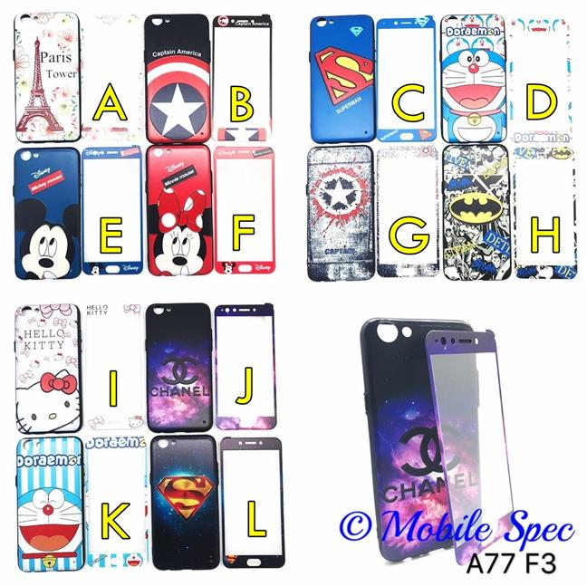 OPPO A77 F3 CARTOON CASE WITH SOFT TEMPERED GLASS PROTECTIVE BACK CASE