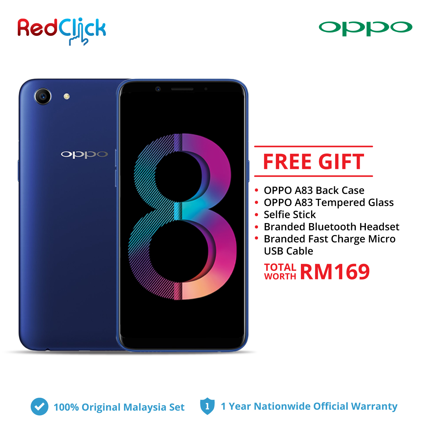 OPPO A83 (3GB/32GB) + 4 Free Gift Worth RM169