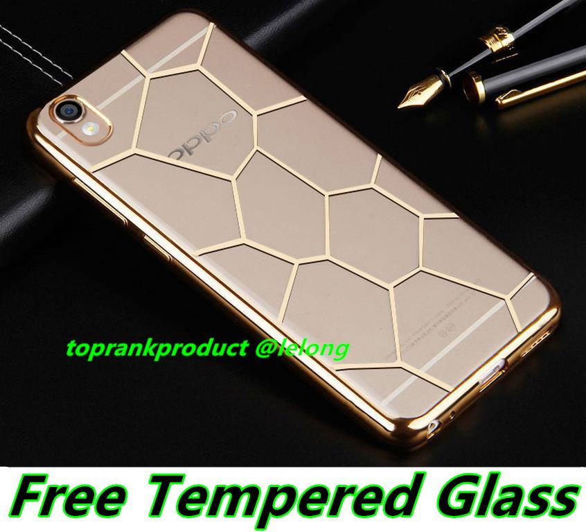 OPPO F1 R9 R9S Plus Silicone TPU Case Cover Casing + Tempered Glass