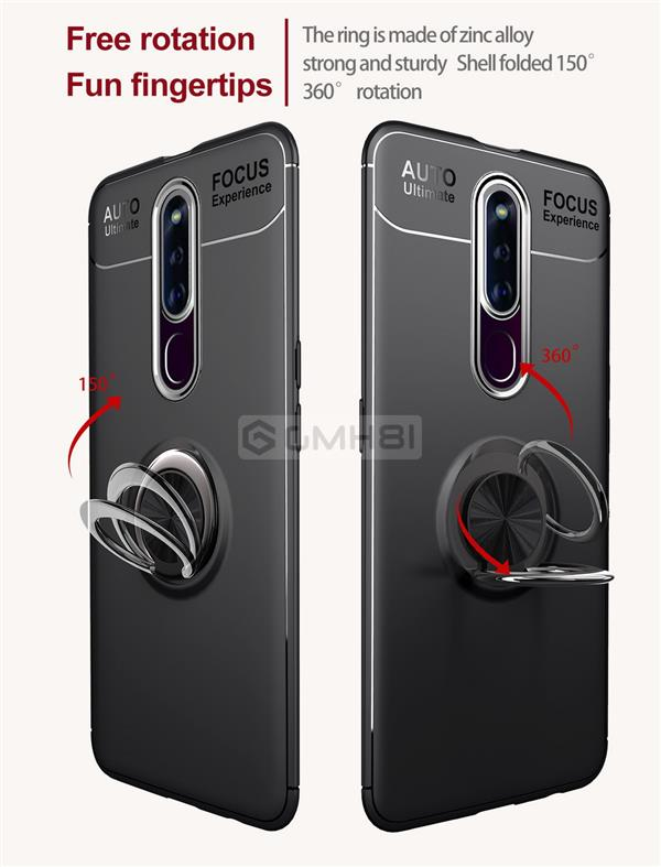 Oppo F11 Pro Invisible Ring Buckle Tough Armor TPU Bumper Cover Case