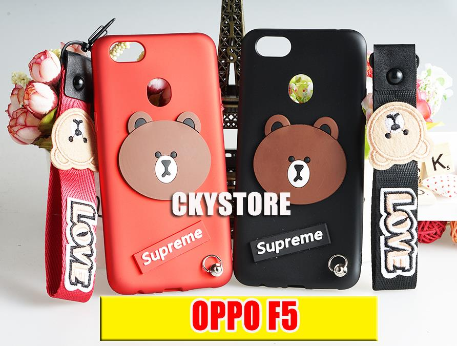 buy popular db35e 115b3 OPPO F1S A59 / F5 SUPREME Bear Soft TPU Case with Strap